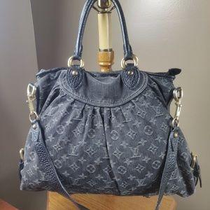 Auth Louis Vuitton Neo Cabby Gm Black Denim
